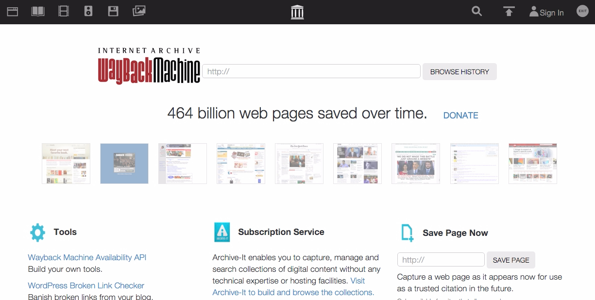 Internet Archive- Wayback Machine